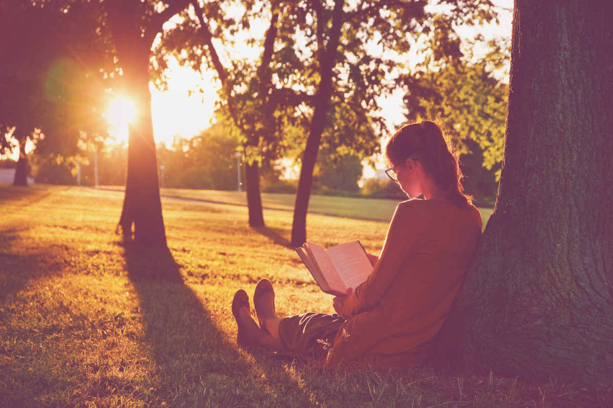 Girl reading book at park in summer sunset light | Best Non-Fiction Books That Are Mind-Expanding | best non-fiction books