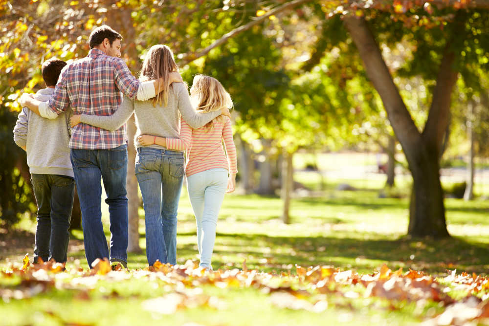 Rear View Of Family Walking Through Autumn Woodland | How Being Kind-Hearted Makes People Healthier | kinder healthier | kind hearted