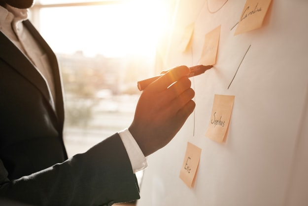 A man in suit writing on sticky notes on a board | Goal Planning