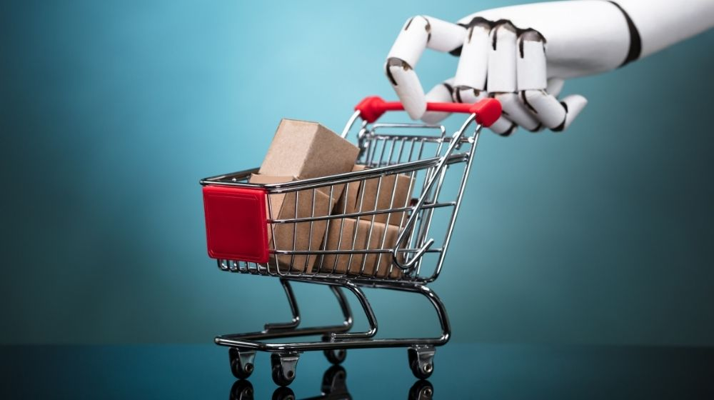 A robotic hand is pushing shopping cart-feature-ss | 6 Ways To Increase eCommerce Sales | feature