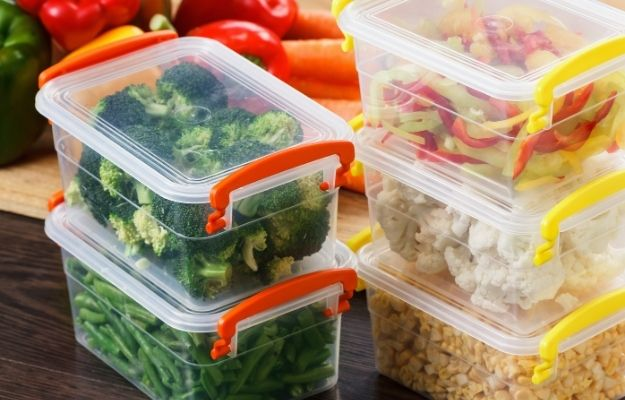 Trays with raw vegetables for freezing-ss | How To Change To A Vegan Diet And Stay Healthy | Stock Up on Healthy Food